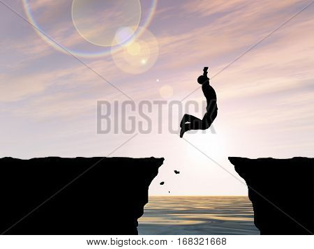 Concept or conceptual 3D illustration young man businessman silhouette jump happy from cliff over water gap sunset sunrise sky background for freedom, nature, mountain, success, free, joy, health risk