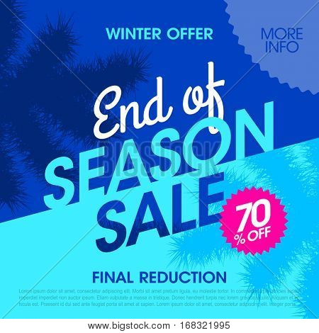 Winter offer end of season sale banner vector illustration