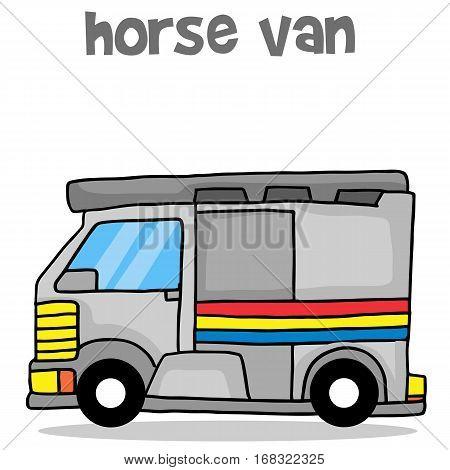 Horse van transport cartoon vector art collection stock