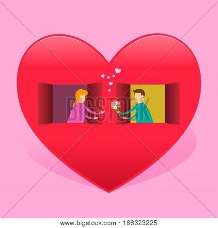 Vector stock of a man giving flower to a girl from a window in a heart shaped house