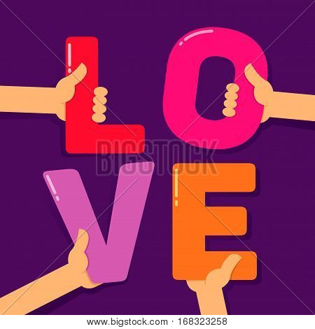 Vector stock of four hands holding colorful letters creating love word