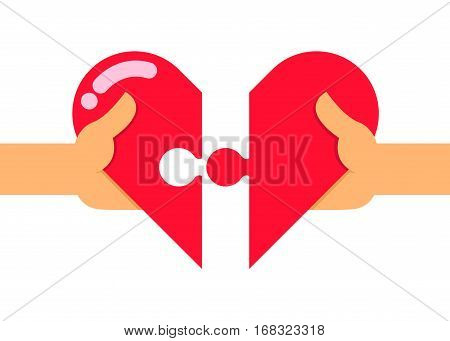 Vector stock of two hands trying to connect two heart puzzle pieces