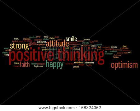 Concept or conceptual positive thinking, happy or strong attitude abstract word cloud isolated on background metaphor to optimism, smile, faith, goals, courageous, goodness, happiness inspiration
