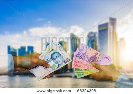 Money Exchange Double Exposure, Singapore Dollar And Thai Baht