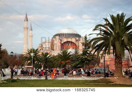TURKEY, ISTANBUL - NOVEMBER 06, 2013: View of the Hagia Sophia Museum on the Sultanahmet Square. Hagia Sophia was a Greek Orthodox Christian basilica later Ottoman mosque and now a museum.