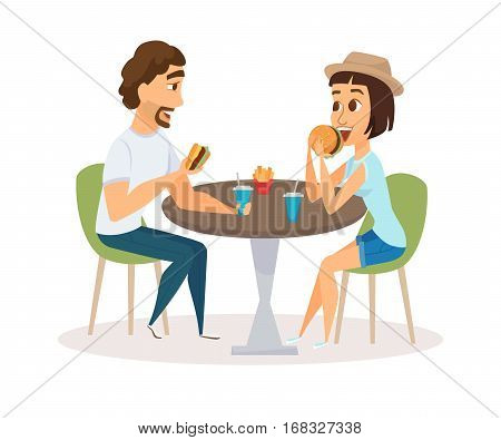 Happy couple eating fast food in restaurant. Lovers people sitting, talking and having dinner burgers, fries and drinking soda. Young fun and smiling man and woman together. Friends meeting