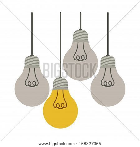 colorful hanging bulbs with filaments off vector illustration