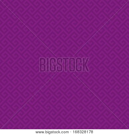 Purple Classic meander seamless pattern. Greek key neutral tileable linear vector background.