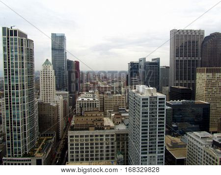 Chicago Loop Aerial View Elevated Cityscape  looking south