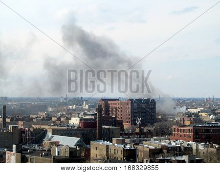 Chicago Fire with smoke on the horizon