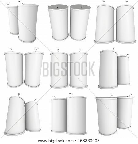 Trade show booth column set white and blank. 3d render isolated on white background. High Resolution Template for your design.