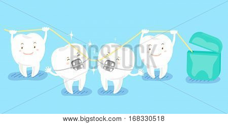 cute cartoon tooth playing with floss happily