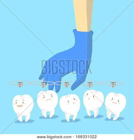 cartoon doctor hand is picking teeth wear brace