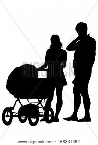 Families people with little child on white background