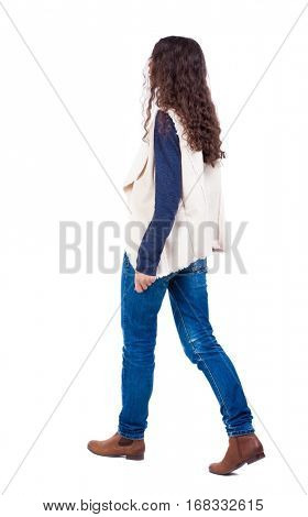 back view of walking  woman.  backside view of person.  Rear view people collection. Isolated over white background. A girl in a white sleeveless out from left to right.