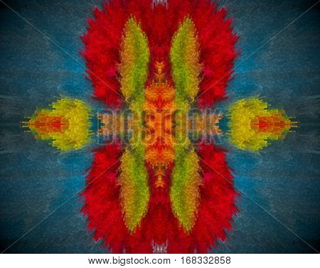 Abstract Extruded Mandala With Red, Orange, Blue And Green Colors