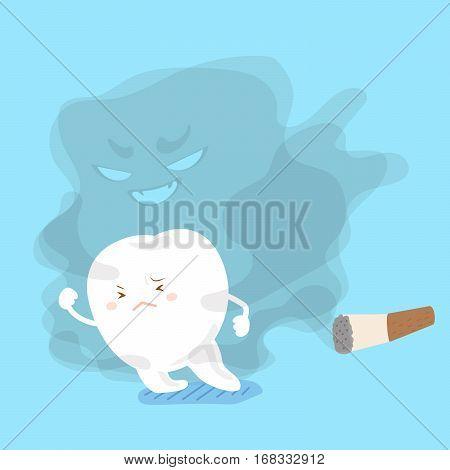 cute cartoon tooth feel afraid away from smoking