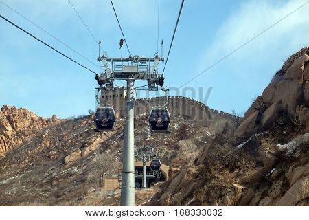 BADALING - FEBRUARY 24:  Cable car at the Badaling Great Wall, China, February 24, 2016.