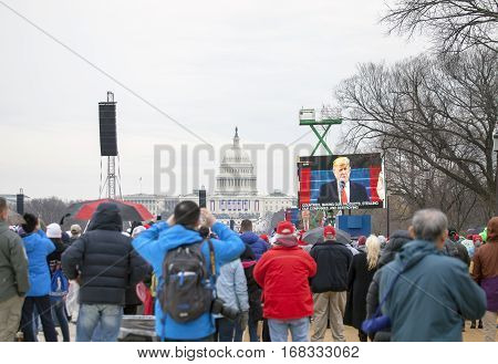 WASHINGTON DC - JANUARY 20: Inauguration of Donald Trump. Taken January 20 2017 in District of Columbia.