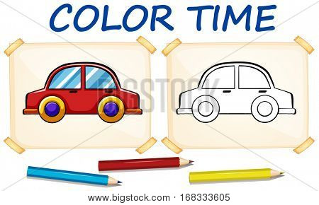 Coloring template with car illustration