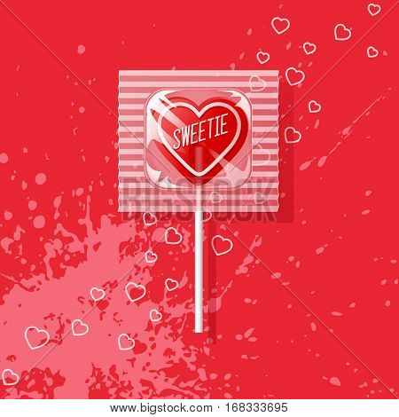 Valentine heart shaped lollipop on red background. Retro candy design, sweetie.