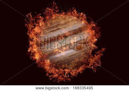 Planet In Fire - Jupiter. Science Fiction Art.