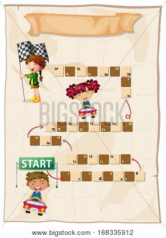 Boardgame template with kids racing cars illustration