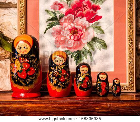 matryoshka , Russian symbol, toymatryoshka painted with bright colors to the characters of Russian fairy tales