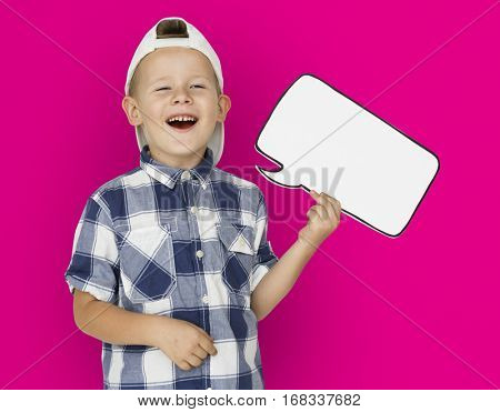 Caucasian Little Boy Holding Chat box Paper craft