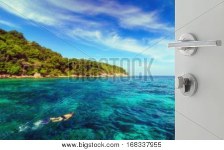 Opened White Door To Tourist Snorkeling In Tropical Clear Sea Near The Green Island At Sunny Day