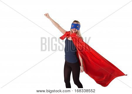Smiling Courage Woman In Superhero Costume