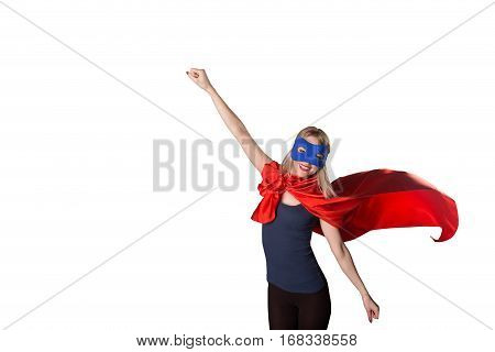 Brave Woman Superhero Raised Her Hand Up