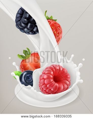 Milk splash and berry 3d vector object. Natural dairy products