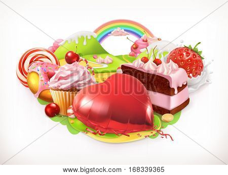 Sweet heart. Confectionery and desserts, 3d vector illustration.