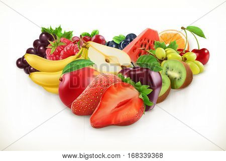 Strawberry and juicy fruits, vector illustration isolated on white