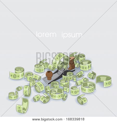 vector illustration depicting a plane that cuts money