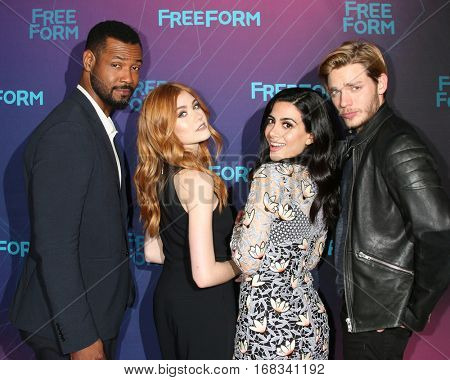 LOS ANGELES - JAN 10:  Isaiah Mustafa, Katherine McNamara, Emeraude Toubia, Dominic Sherwood at the Disney/ABC TV TCA Winter 2017 Party at Langham Hotel on January 10, 2017 in Pasadena, CA