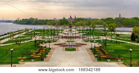Yaroslavl, Russia - May 11, 2014: The cityscape, a view of the amusement park on the Spit of the rivers Volga and Kotorosl in the city center