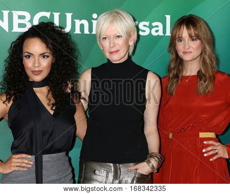 LOS ANGELES - JAN 17:  Diandra Barnwell, Joanna Coles, Leah Wyar at the NBC/Universal Cable TCA Winter 2017 at Langham Hotel on January 17, 2017 in Pasadena, CA