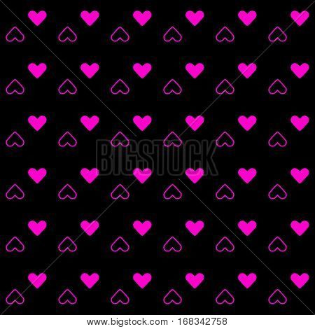 Pink heart pattern on black background stock vector