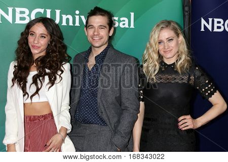 LOS ANGELES - JAN 17:  Stella Maeve, Jason Ralph, Olivia Taylor Dudley at the NBC/Universal Cable TCA Winter 2017 at Langham Hotel on January 17, 2017 in Pasadena, CA
