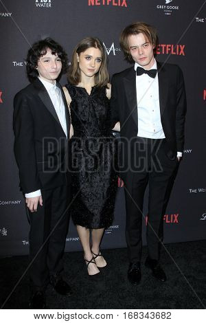 LOS ANGELES - JAN 8:  Finn Wolfhard, Natalia Dyer, Charlie Heaton at the Weinstein And Netflix Golden Globes After Party at Beverly Hilton Hotel Adjacent on January 8, 2017 in Beverly Hills, CA