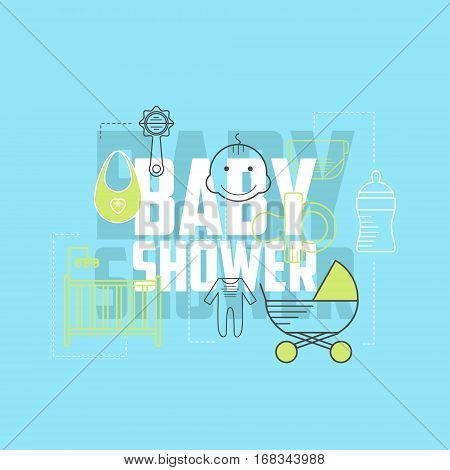Baby shower icons. Line style child theme icons set. Baby shower elements: diaper stroller baby bottle cradle pacifier.