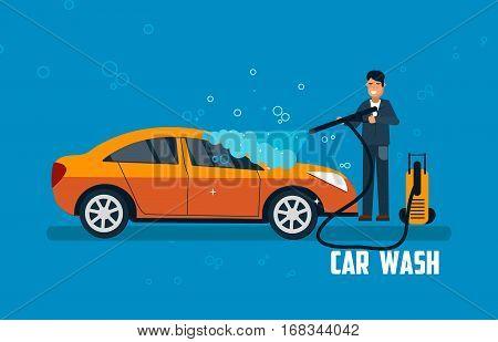 Car wash banner. Man washing car vector illustration. Car wash concept with sport orange car.