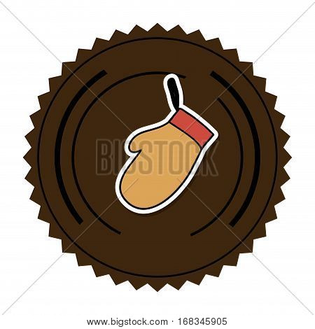 color round frame with oven mitts vector illustration