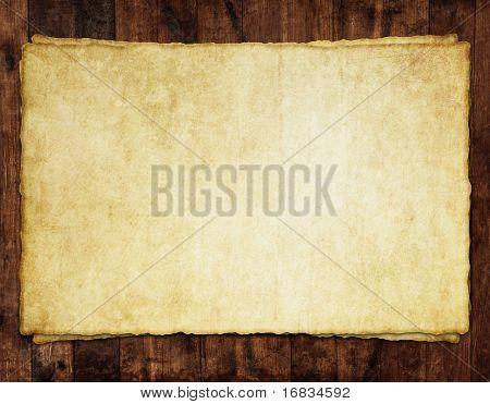 Alte Blatt Papier auf Holz Hintergrund