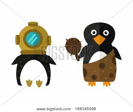 Penguin aqualung vector illustration character. Cartoon funny cute animal with headphones isolated. Antarctica polar beak pole winter bird. Funny outdoors wild life south arctic.