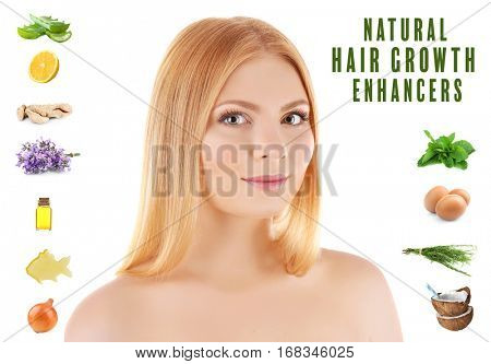 Young woman and natural hair growth enhancers on white background. Beauty concept