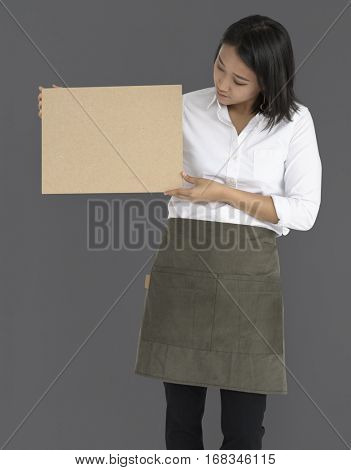 Woman Holding Cork Board Copy Space Concept