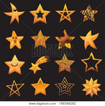 Set of shiny star icons in different style. Pointed pentagonal gold award. Abstract design doodle night artistic symbol. Vector shape graphic yellow element.